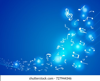 Colorful Music notes. Vector Illustration Abstract blue background.