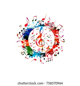 Colorful music poster with music notes. Music elements banner for card, poster, invitation. Colorful G-clef. Music background design vector illustration