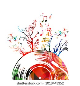 Colorful music poster with vinyl record and trees. Music elements for card, poster, invitation. Music background design vector illustration