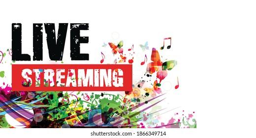 Farbige Musik Werbeplakathintergrund mit musikalischen Noten, einzelne Vektorgrafik. Live-Streaming-Banner für Musikfestivals, Shows und Konzertveranstaltungen