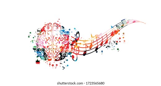 Colorful music promotional poster with brain and music notes isolated vector illustration. Artistic abstract background with music staff for creativity in music and composing
