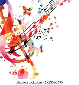 Farbiges Musik-Promotion-Poster mit G-Clef und Musiknoten einzeln auf Vektorgrafik. Künstlerisch abstrakter Hintergrund mit musikalischem Personal für Musik-Show, Live-Konzertveranstaltungen, Party-Flyer-Vorlage