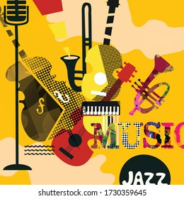 Colorful music promotional poster with music instruments vector illustration. Artistic abstract background for music show, live concert events and festivals, party flyer design template