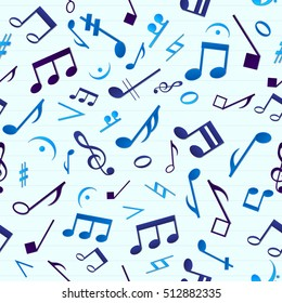 Colorful music seamless pattern with many randomly distributed isolated notes on light background vector illustration