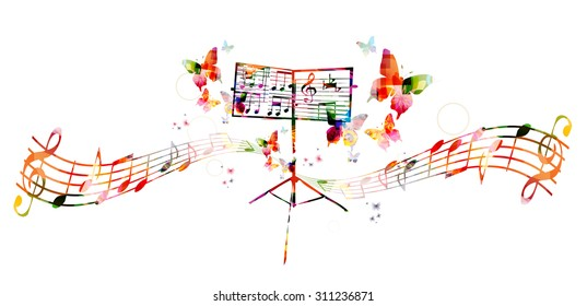 Colorful music stand with butterflies