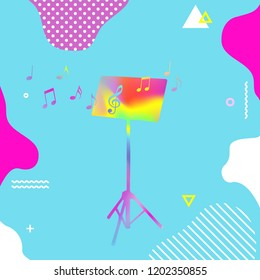 Colorful music stand with music notes vector illustration. Abstract music background, artistic poster design
