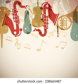 Colorful musical instrument or musical notes on stylish background.