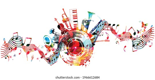 Colorful musical promotional poster with musical instruments and notes isolated vector illustration. Artistic abstract design with vinyl disc for concert events, music festivals and shows, party flyer