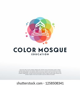 Colorful Muslim Learn logo vector, Islamic logo designs template, design concept, logo, logotype element for template