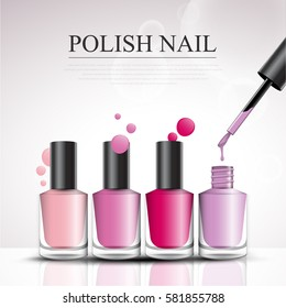 colorful nail lacquer bottles ads, vogue ads for vector design.