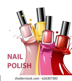 Colorful nail lacquer, nail polish splatter on white background, 3d illustration, vogue ads for design Cosmetics and fashion background Template Vector.