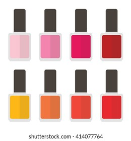 Colorful nail lacquer set, collection. Vector flat design illustration.