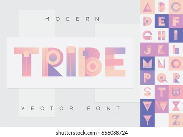 Colorful native styled vector font in material design style with modern look, colored in pink, purple and orange shades