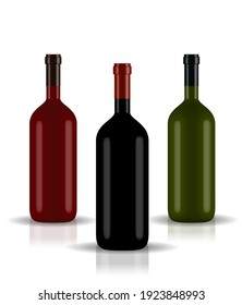 Colorful naturalistic closed 3D wine bottle of different colors without label. Vector Illustration. EPS10