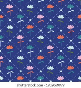 Colorful Navy Blue Floral Seamless Pattern