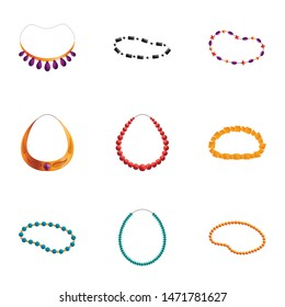 Colorful necklace icon set. Cartoon set of 9 colorful necklace vector icons for web design isolated on white background