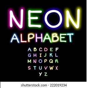 Colorful Neon alphabet  vector