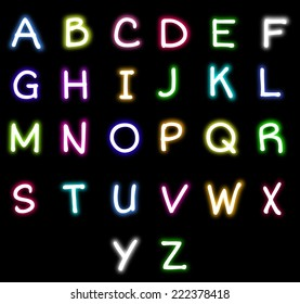 Colorful Neon alphabet vector
