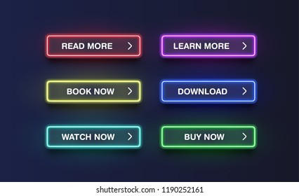 Colorful neon buttons for websites, vector illustration