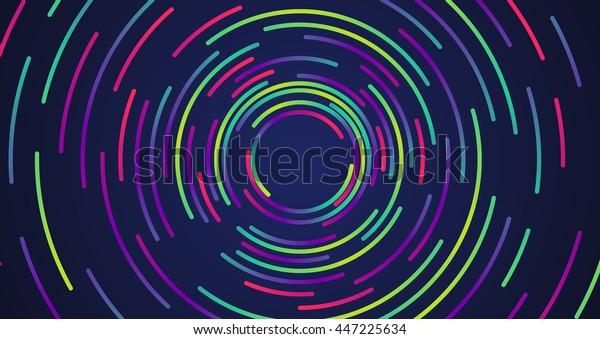 カラフルなネオン円の背景、ベクター画像