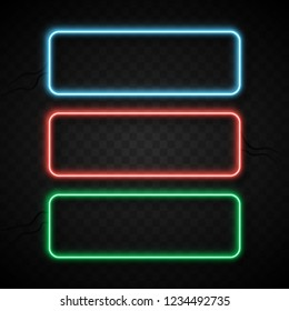 Colorful neon frames set on black transparent background. Blue, red and green. Vector illustration.