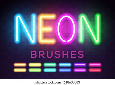 Colorful Neon Lights Brushes for Your Custom Sign. All Brushes in Brushes Panel. Vector Illustration.