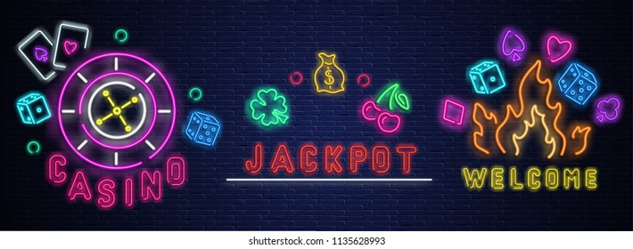 Colorful neon luminous casino, jackpot, welcome signs on blue realistic bricklaying wall. Textured background. Vector illustration.