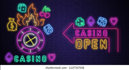 Colorful neon luminous casino and open signs on purple realistic bricklaying wall. Textured background. Vector illustration.