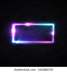 Colorful neon square background. Laser light tube. on dark brick wall. Design element for night bar or casino sign in retro style. Chrome effect. 3d bright signage. Night tech vector illustration.