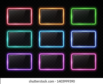 Colorful neon square signs set with glass texture plates. Glowing color rectangles collection on transparent background. Shining led halogen lamps frame banners. Bright futuristic vector illustration.