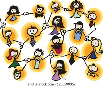 Colorful network of female and male stick man. The graphic is also available as vector image.