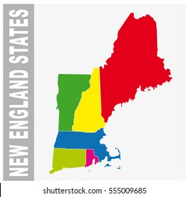 Colorful New England States  administrative and political vector map