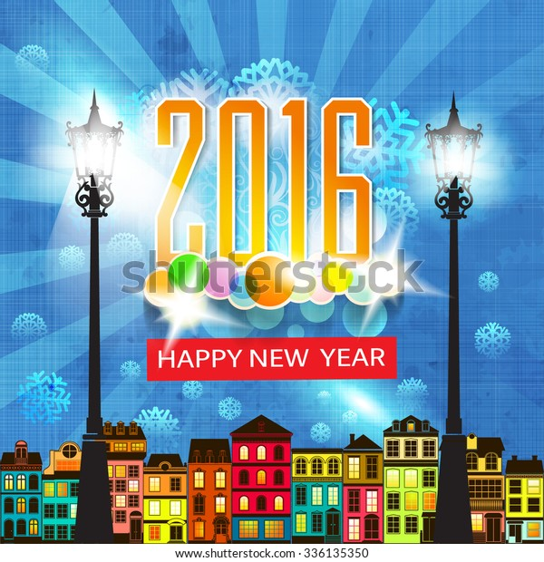 Colorful New Years Eve Card Retro  Backgrounds/Textures