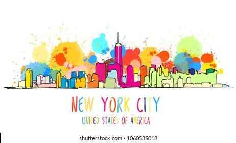 Colorful New York City Skyline Drawing. Vector Outline Version for digital product and travel marketing.