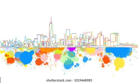 Colorful New York Skyline Sketch. Hand Drawn Vector Illustration, Paint Splatter Color Isolated on White Background. Business Travel and Tourism Concept with Modern Architecture.