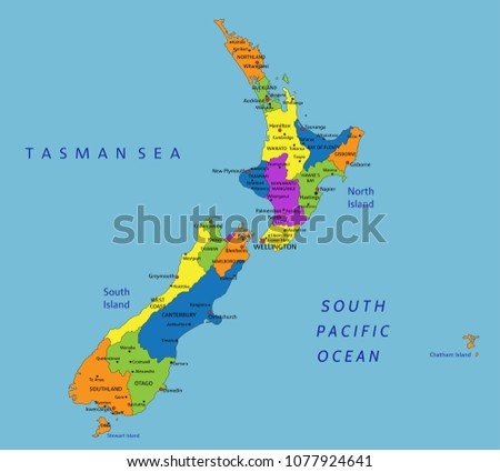 Colorful New Zealand Political Map Clearly Stock Vector (Royalty ...