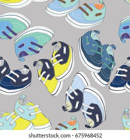 Colorful newborn shoes for boys. Seamless pattern. Vector illustration on light grey background