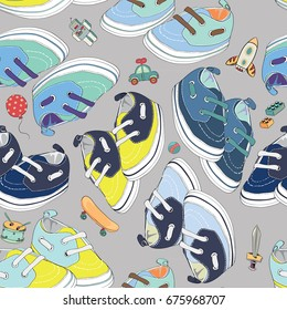 Colorful newborn shoes for boys with boys toys. Seamless pattern. Vector illustration on light grey background