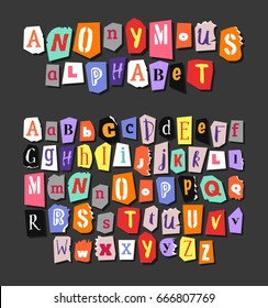 Colorful Newspaper alphabet. Hand made anonymous set. Vector Letters different fonts