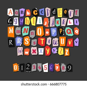 Colorful Newspaper alphabet. Hand made anonymous set. Vector Letters, numbers different fonts