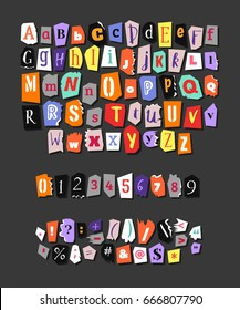 Colorful Newspaper alphabet. Hand made anonymous set. Vector Letters, numbers and punctuation marks different fonts