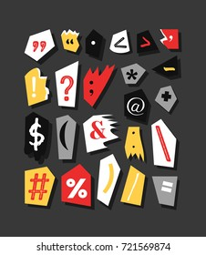 Colorful Newspaper symbols. Hand made anonymous set. Vector punctuation marks different fonts