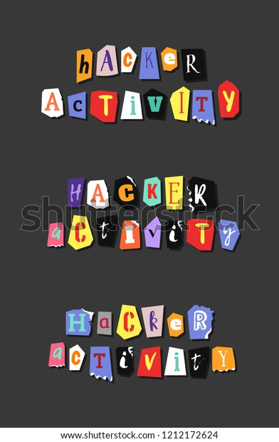 Colorful Newspaper Word Hacker Activity Hand Stock Vector (Royalty