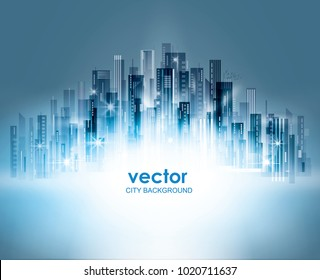 Colorful Night city background, with glowing lights, vector illustration