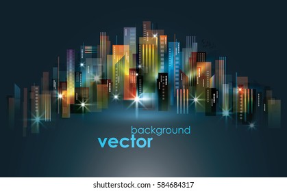 Colorful night City skyline, vector illustration