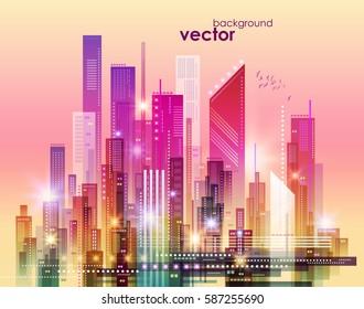 Colorful Night city skyline, vector illustration