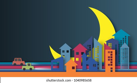 Colorful night city and urban landscape with half moon background paper art style design.Vector illustration.