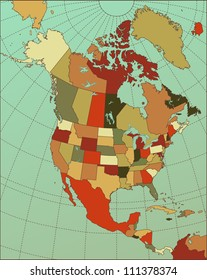 Colorful North America Map. Cartography collection. Vector illustration.