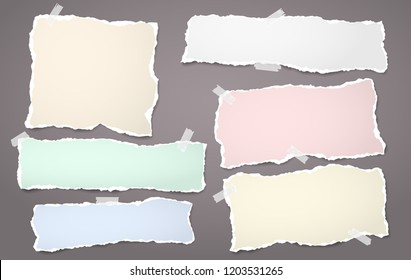 Colorful note, notebook paper strips with torn edges stuck on brown background. Vector illustration.