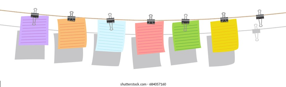colorful note paper hanging on burlap rope with wood clip on white background, memo sign vector set